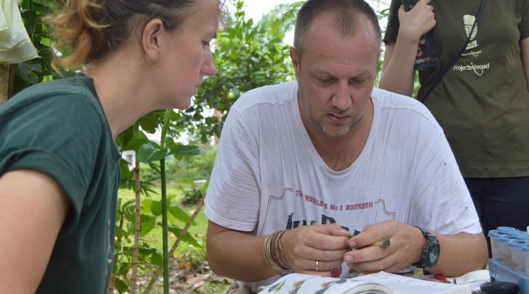 Naturskyddsvolontärer samlar in data om vilda djur, insekter och fåglar som en del av deras naturskyddsarbete i Amazonas regnskog i Peru.
